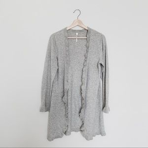 Margaret O'Leary open ruffle cardigan